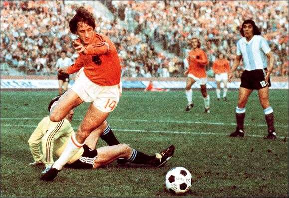 Johan Cruyff sliced Argentina to shreds with two goals at the 1974 World Cup.