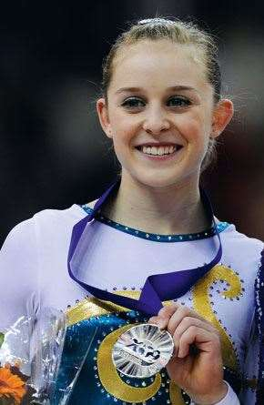 The silver medallist  with the golden smile.
