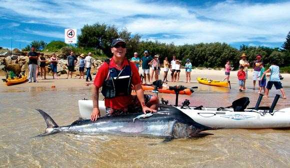 Paul O'Leary's 78kg marlin set a kayak fishing catch benchmark