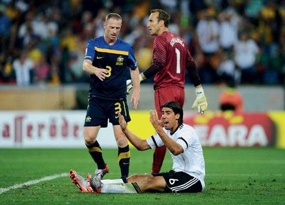 Germany's Sami Khedira felt Moore's hard-nosed defence at the 2010 World Cup.
