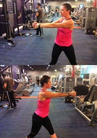 Cable twists will work the rotation of your shoulder and your core.