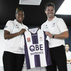 Sasha Andrews with Glory coach Jamie Harnwell | Perth Glory Women