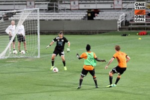 Joining in at the A-League team's training | Credit: Brisbane Roar