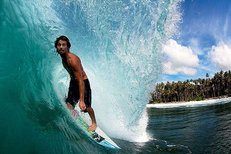 Joey Haddon in the hole, not at Nias,  but another of the quality, secret waves in the area. Photo: Dave Sparkes