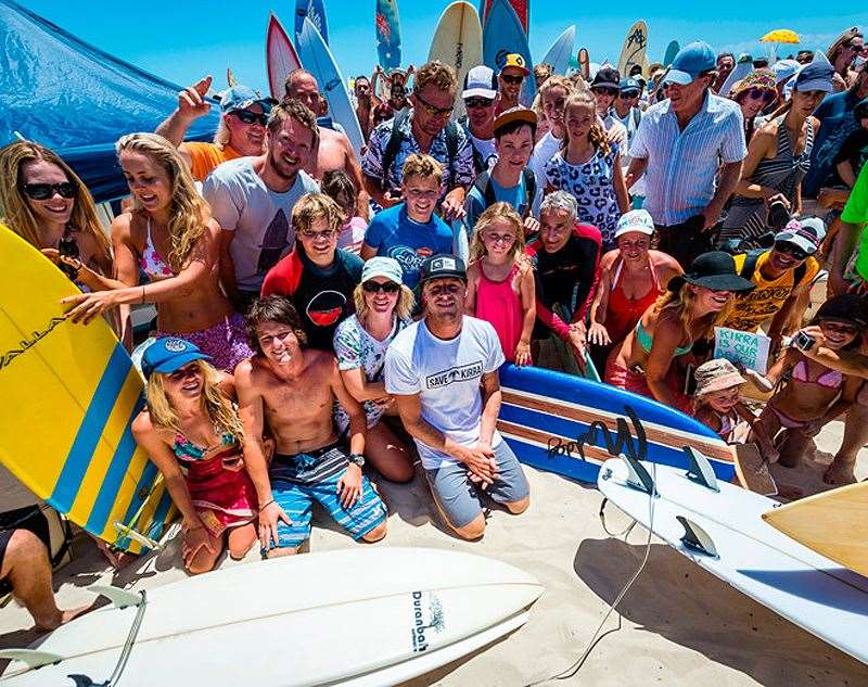 World Champion Mick Fanning at Sunday's paddle out has been a vocal supporter of the campaign. Photo by SOSBA/Peter Joli Wilson