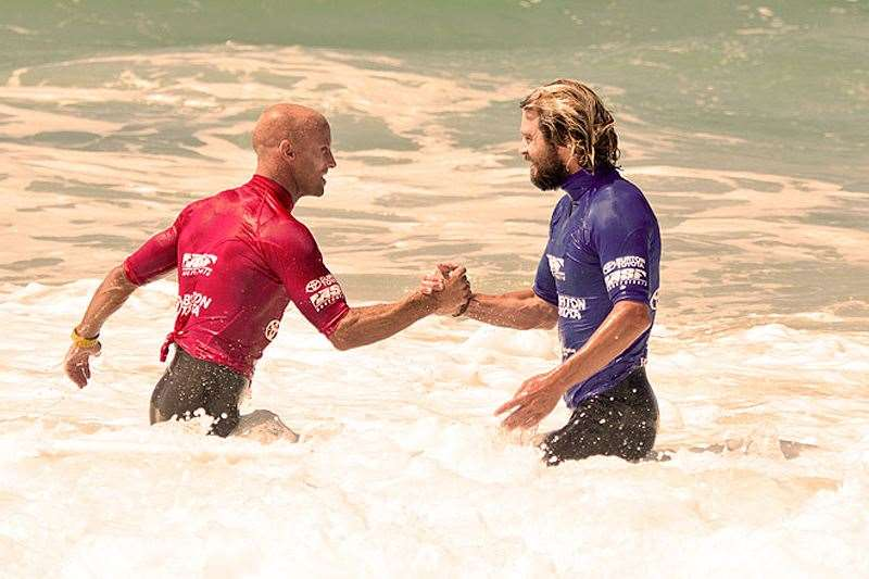 Veteran Nathan Hedge and Heath Joske feeling the love in round 4. Photo by ASP/Will Hayden-Smith