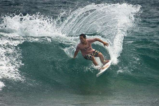 Masatoshi Ohno a veteran and all round nice guy going mad at Pasta Point in the Maldives. Photo by Peter Joli Wilson.