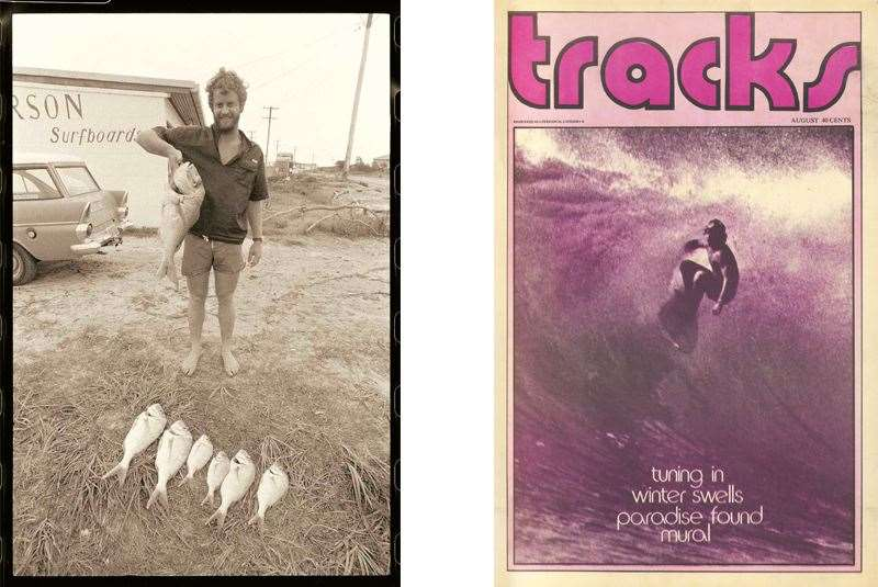 Left: Baddy with his fresh catch of fish circa 1970s.  Right: Baddy gracing the cover of Tracks August 1973