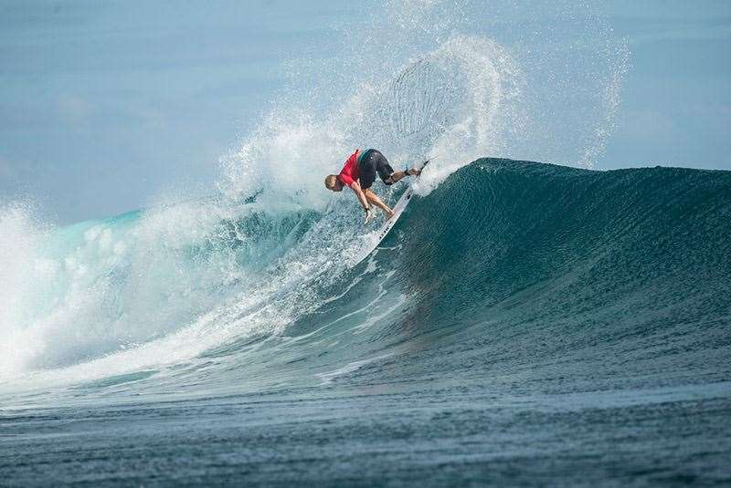Mick at the Fiji Pro earlier this year breaking chandeliers. Photo: Joli