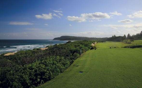 Shelly Beach Golf Club The back tee of the part-4 6th hole offers a spectacular ocean view and a tough tee shot.
