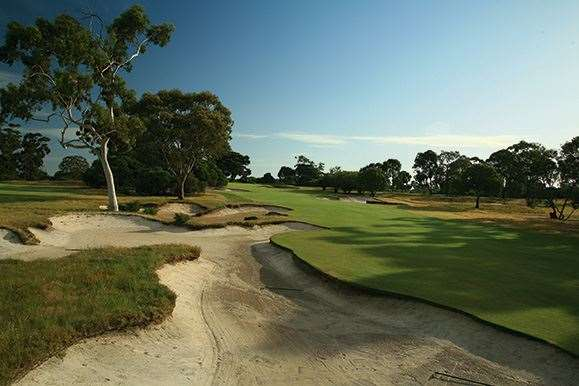 Victoria's 11th hole is a stern par-4 that climbs to a steeply sloping green that catches golfers by suprise.