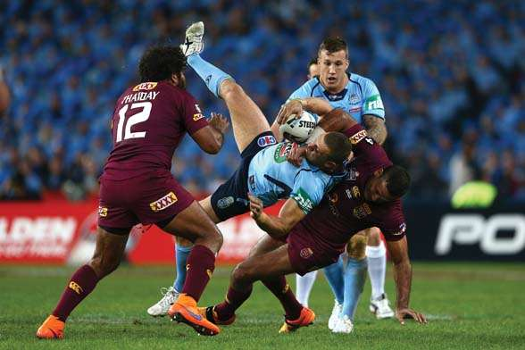Queensland enforcer Justin Hodges slammed Farah to the ANZ Stadium turf in Origin 1... (Photo by Getty Images)