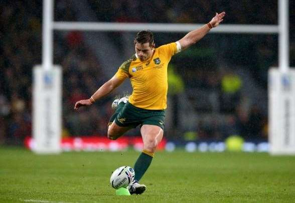 Bernard Foley slotting the match winning penalty. (Photo by Getty Images)