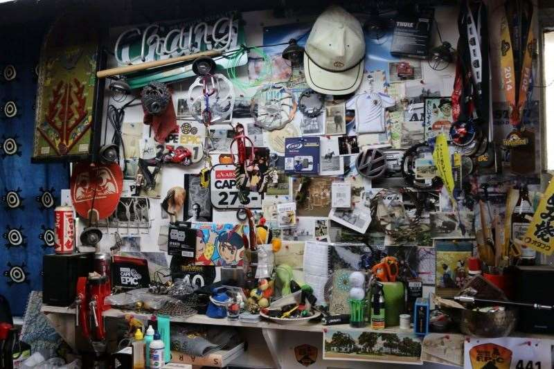 In the early 90s, inspiration for design came from thrift shops and antique stores, plus collections of 'things'. Dooley's wall in his shed is a monument to riding, design, art, Japanese culture - and beer.