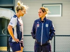 Rajcic and Rosie Sutton at training (Credit: Adam Butler)