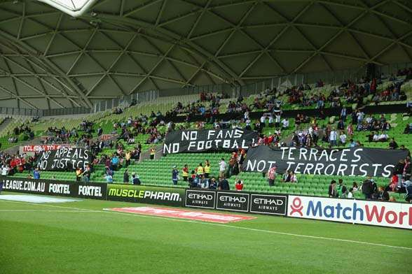 Melbournians showing their displeasure. (photo by Getty Images)
