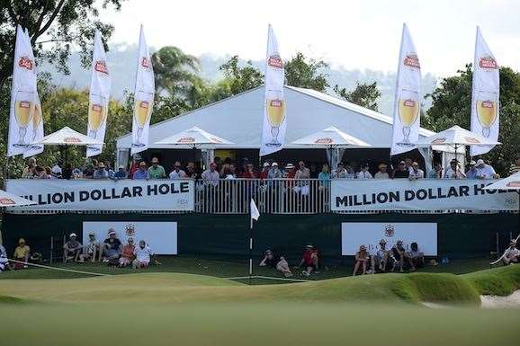 There is one million dollars on offer for a hole-in-one on the 16th hole, one of the most extensively changed holes, in the final round. PHOTO: Bradley Kanaris/Getty Images.