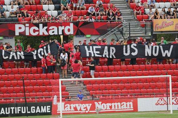 The Red Army providing a message for the FFA.(Photo by Getty Images)