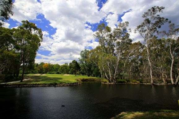 A beautiful billabong separates the tee and fairway at the par-3 4th.