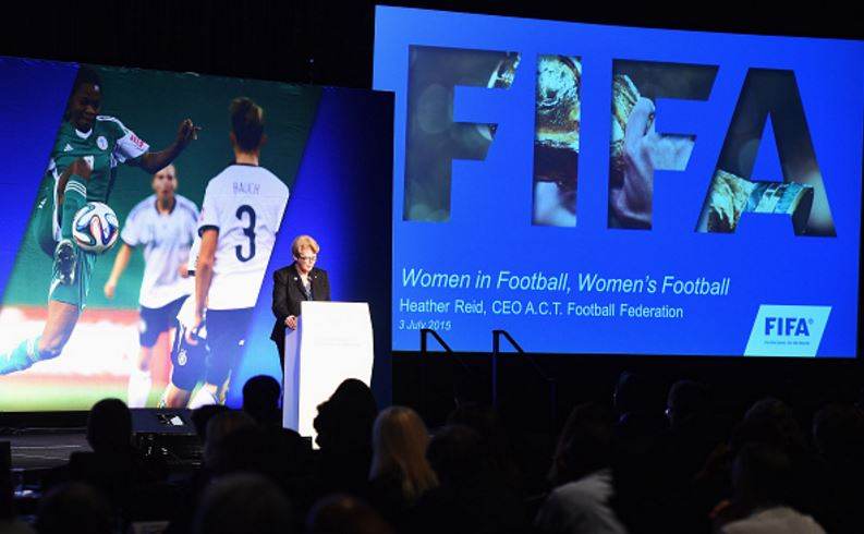 Reid presenting at the 2016 FIFA Women's Football Symposium (Photo: Getty Images)