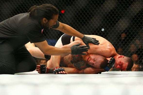 McGregor submits. (Photo by Getty Images).