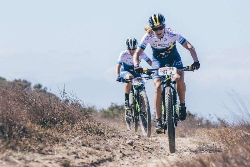 Team Ascendis Health's Robyn de Groot and Jennie Stenerhag ascends Dorstberg on their way to victory during the Prologue of the 2016 Absa Cape Epic Mountain Bike stage race held at Meerendal Wine Estate in Durbanville, South Africa on the 13th March 2016 Photo by Ewald Sadie/Cape Epic/SPORTZPICS PLEASE ENSURE THE APPROPRIATE CREDIT IS GIVEN TO THE PHOTOGRAPHER AND SPORTZPICS ALONG WITH THE ABSA CAPE EPIC ace2016