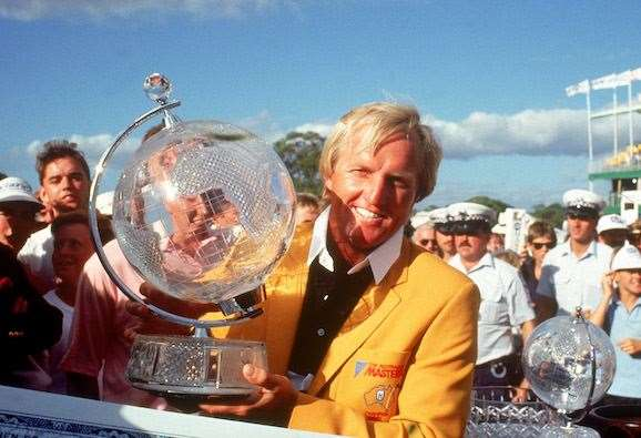 Greg Norman with one of his six Australian Masters jackets. PHOTO: Getty Images.