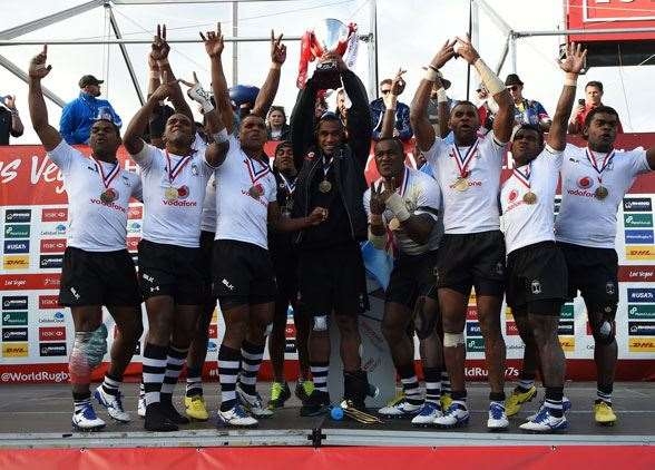 Fiji celebrating their win in Las Vegas. (Photo by Getty Images)