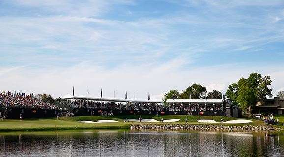 The 18th hole at the Bay Hill Club and Lodge. PHOTO: Sam Greenwood/Getty Images.