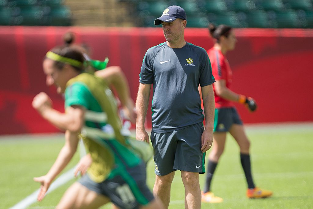 Stajcic overseeing Matildas training at the Women's World Cup (Photo: Getty Images)