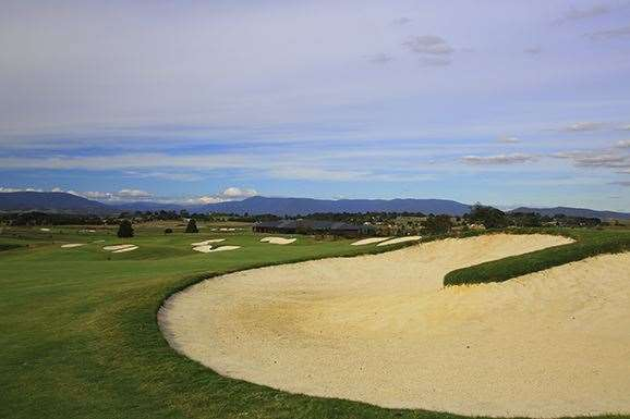 Sand dominates the long par-4 9th hole. PHOTO: Brendan James/Golf Australia magazine