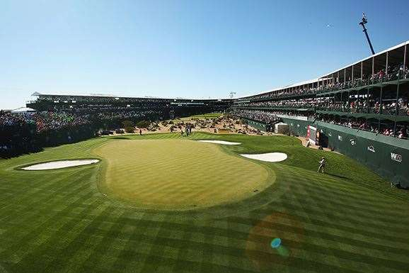 The 16th hole at TPC Scottsdale. PHOTO: Marianna Massey/Getty Images.