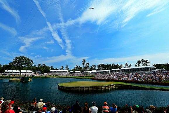 The ominous 17th hole at TPC Sawgrass, home of the Players Championship. PHOTO: David Cannon/Getty Images.