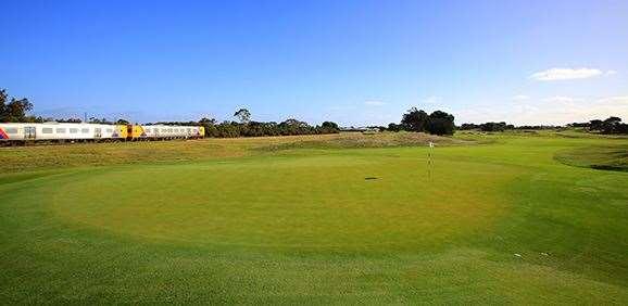 The train to Glenelg cuts through the Royal Adelaide course. PHOTO: Brendan James/Golf Australia magazine