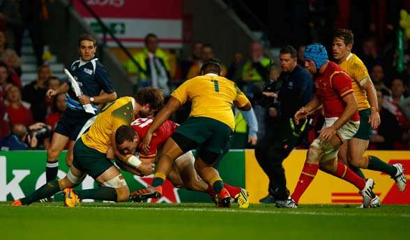 Ben McCalman's heroic efforts in the last World Cup campaign, denying Wales' George North on the try line. (Photo by Getty Images)