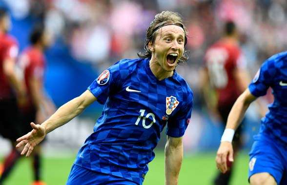 Croatian superstar Luka Modric celebrating his cracking goal against Turkey. (Photo by Getty Images)
