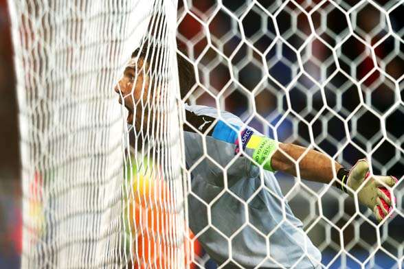 Italian captain Gianluigi Buffon celebrating his side's impressive win. (Photo by Getty Images)