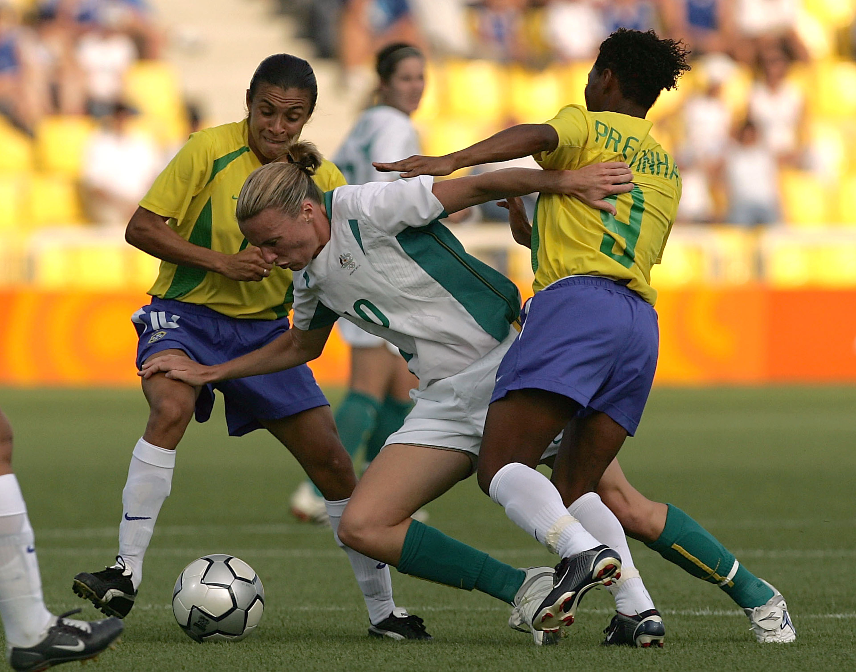 Joanne Peters taking on Brazil at Athens 2004 (Photo by Mark Dadswell/Getty Images)
