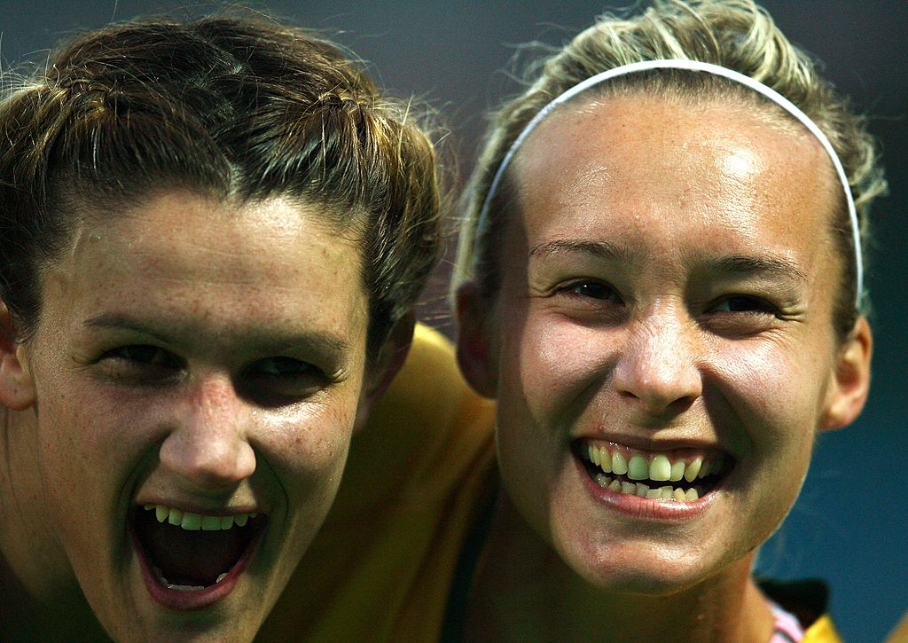 Alagich with Rhian Davies at the 2007 WWC (Photo by Paul Gilham/Getty Images)