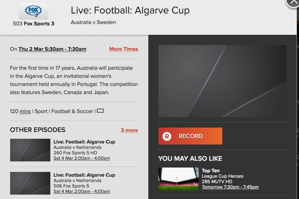 Matildas 2017 Algarve Cup campaign scheduled for Fox Sports - The