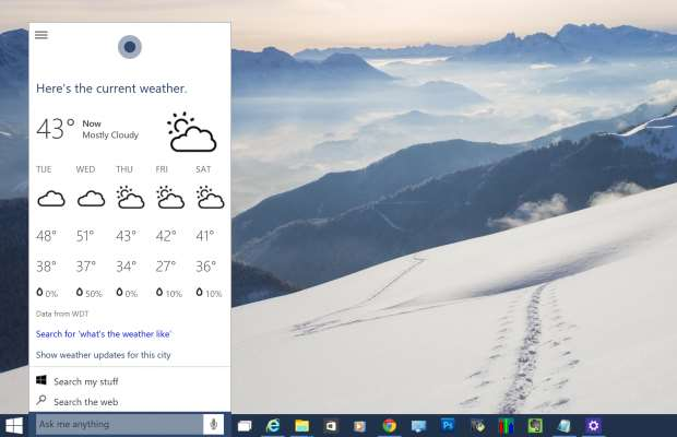 Windows 10 review - Cortana shows the weather