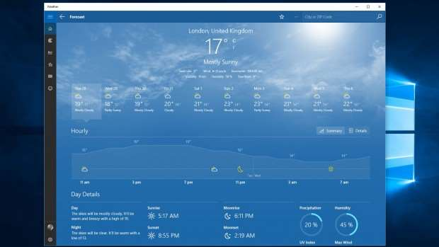 Windows 10 review: Weather app