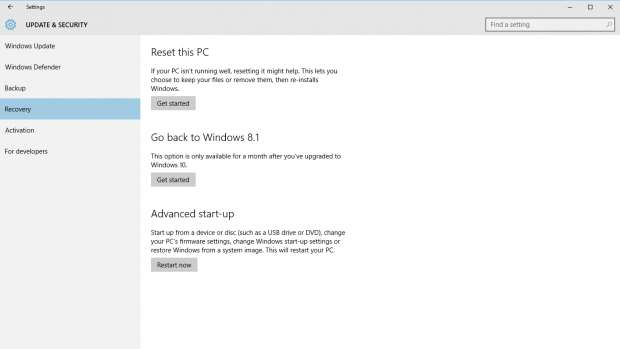 How to downgrade Windows 10 to Windows 8.1 and Windows 7 - settings