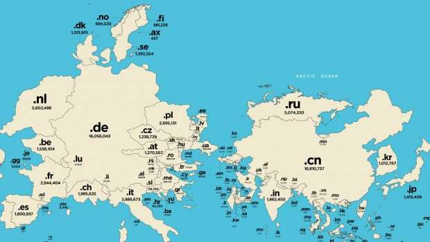 This amazing map shows the world by number of web domains general but thats actually extremely misleading because individuals and companies within american borders favour the classic domain which with 123 million gumiabroncs Gallery