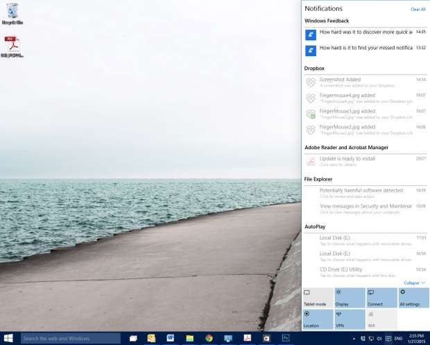 Windows 10 review - notifications box