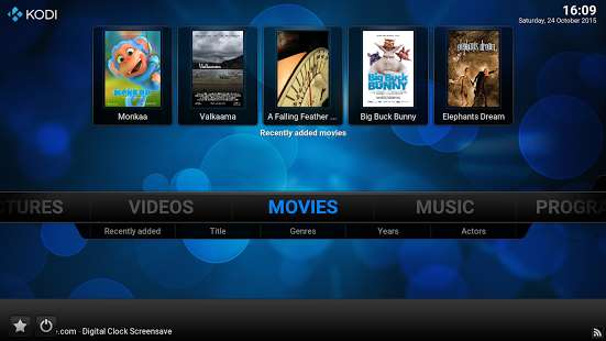 Kodi menu on android tablet or smartphone