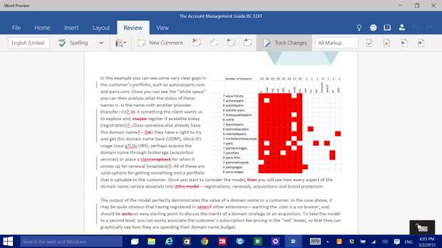 Word Preview for Windows 10