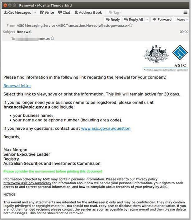 Fourth malicious email attack impersonating ASIC - General