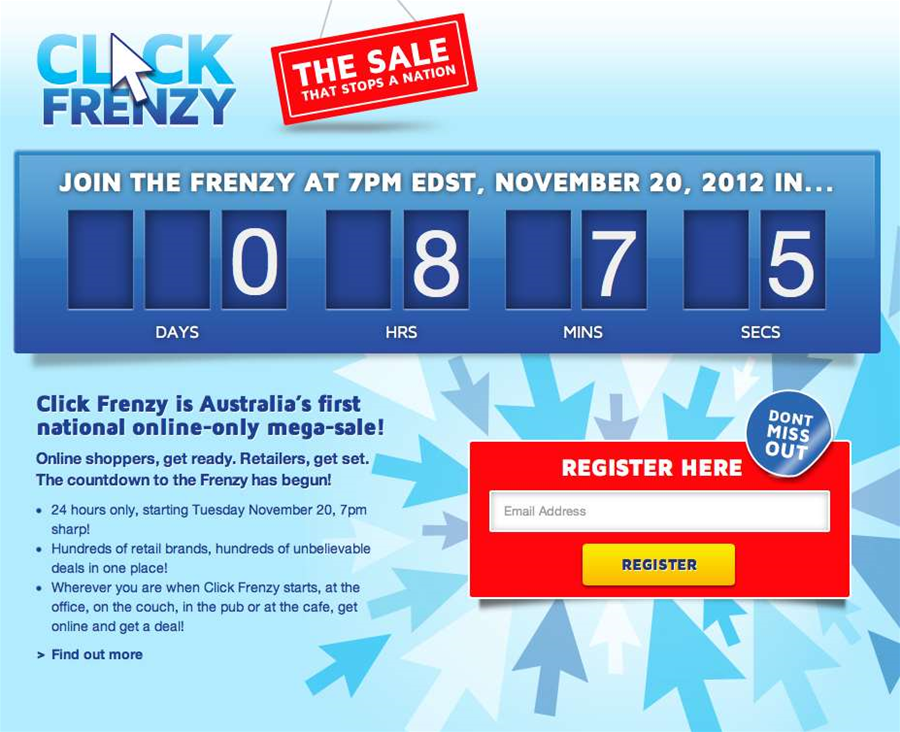 a description of click frenzy an australia initiative for online sales This click frenzy™ has officially started although a few retailers such as kogan and asos started their sales earlier in the day, the bulk of click frenzy™ deals officially opened at 7pm today the australian online sales initiative has been running twice a year since 2012 but this click frenzy™ event is shaping up to be the biggest yet.