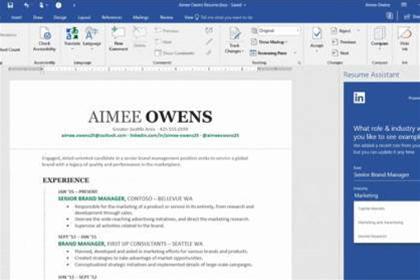 Microsoft office resume helper